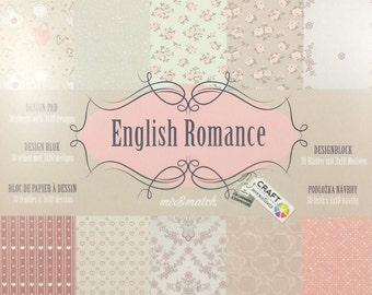 small Scrapbook Blossomy with 30 sheets, 10 themes each 3 x, scrapbooking paper scrapbook paper pad (English Romance)