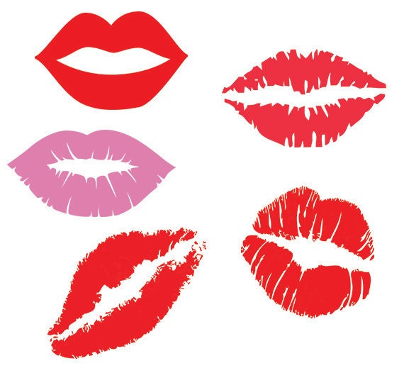 Red lipstick lips clipart
