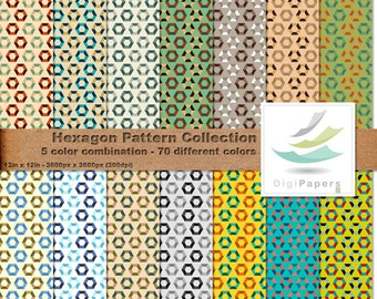 Hexagon Pattern Collection - Scrapbooking Digital paper Pack for personal and commercial use - Suitable for scrapbooking and backgrounds