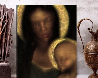 Erzulie Dantor, Black Madonna, Religious Icon, Vodou Art, Voodoo Art, Altarpiece, Ezili Danto Original Icon On Metal 8x10, Fet Ghede Altar