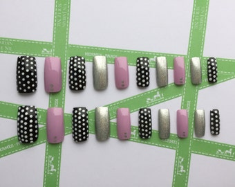 Hand painted false nails with Polka dots details