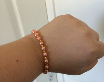 Peach Pearl and Gold Glass Bracelet