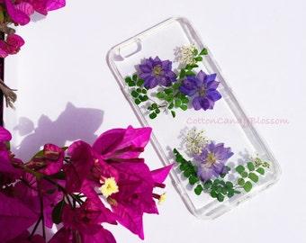 Purple Larkspur Flower,Pressed flower iPhone 7/7 Plus, Real Flower iPhone 7 case, Handmade iPhone case, Clear iPhone case,