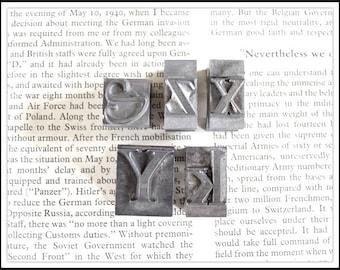 Lot of (5) Vintage Metal Letterpress Block Letters - Metal Type - Z K X Y S