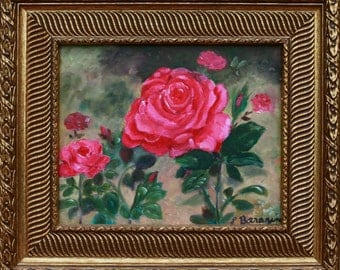 "Oil painting, roses ""Courtesy"""