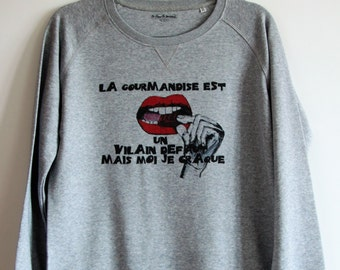 Sweatshirt grey gluttony woman graphic