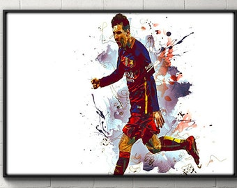 Lionel Messi Poster Barcelona Print Home Decor DORM decor House Warming Gift Messi wall art real barcelona soccer poster futbol poster messi