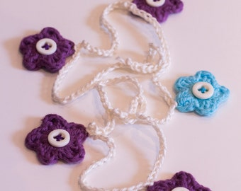 Purple, Turquoise and White Crochet Flower Bunting Garland