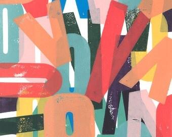 Colorful, modern, abstract art print, hand block printed