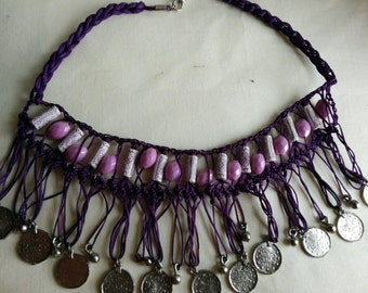 BOHO Indian Necklace/Bollywood Jewelry/Indian Wedding Jewelry/Purple beads Jewelry Necklace/Bohemian jewelry/Gypsy jewelry/Festival jewelry
