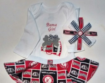 Circle Skirt, Onesie, and Hairbow
