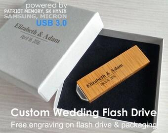 1 Wooden USB 3.0 Wedding usb,Personalized wedding favor,USB Photographers,Wedding flash drive,Personalized flash drive,Custom usb drive