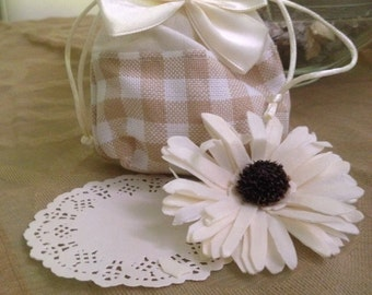 checkered fabric bag with satin ribbon