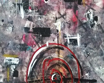 Abstract Painting, Art painting, Acrylic painting, Red target, Medium wall art, 24x36