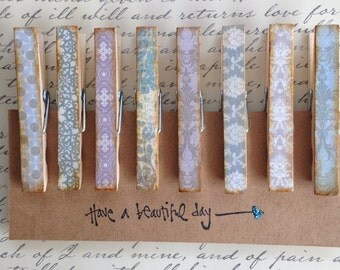 Vintage Inspired Clothespins/Memo Clips/Set of 8
