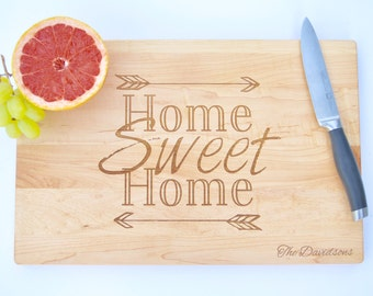 Home Sweet Home Engraved Cutting Board, Custom New Home Gift, Housewarming Gift Idea, Gifts for Women, Housewarming Gift for Couple, Wood