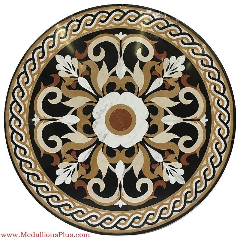 Emperador Dark Marble Floor Medallions 48 : Marseille waterjet marble floor medallion inlay
