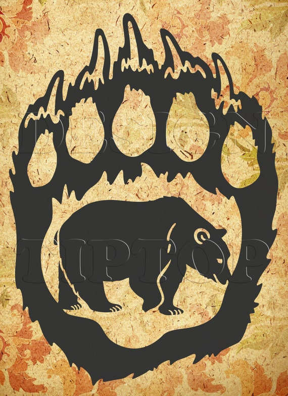 Bear Paw Svg Beer Bear Silhouette Dxf Png Eps Cdr