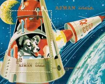 "Laika, the Space Dog - Vintage Sci Fi Pulp Giclée Art Print (Choose  8"" x 10"" or 5"" x 7"" or 4"" x 6"")"