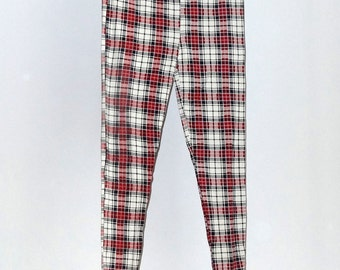 FS104 Pink/Cream/Black Leggings Tartan/Check Print Viscose Fabric Clothing