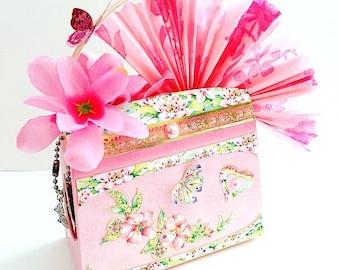Secret Garden Miniature 3D Handbag (with embellished flowers and butterflies)