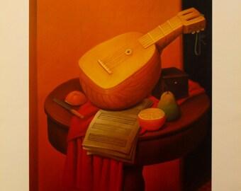 "Fernando Botero  - ""Natura Morta con Mandolino"" - Offset Lithograph, 1992"