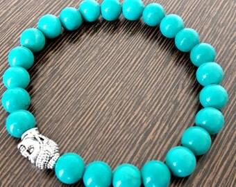 Genuine Reiki Charged Turquoise Bracelet With Buddha Charm Bead   8 mm Beads