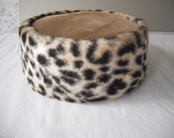 1950's Leopard Print Pill Box Hat