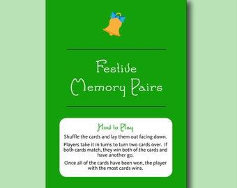 Festive Memory Pairs - Fun Printable Christmas Party Game Printable Christmas Games Printable Christmas Pairs Xmas Memory Game for Children