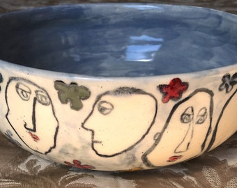 Wheel Thrown, hand Painted Clay Bowl