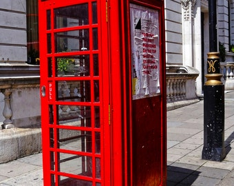 Classic Bright Red Phone Booth, London, UK