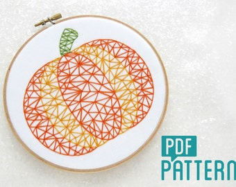Modern Pumpkin Embroidery Pattern, DIY Thanks Giving Decor, Halloween Embroidery Pattern, Pumpkin Needlepoint Tutorial, Beginner Embroidery