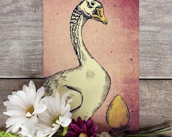Goose with Golden Egg - A6 postcard from original artwork - 300gsm laid card