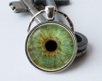 Eye keychain Green eye keyring Eyeball key chain Unique gift Eye pendant Eye keyring Eye jewelry Human eye Unusual Eyeball key ring Image