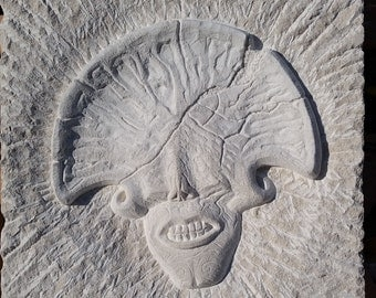 Hellboy 2 Angel of Death head, relief carving