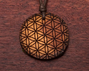 Flower of life, wood necklace, 3-6 cm, unique