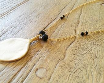 Gold and black necklace, Long necklace, Elegant necklace