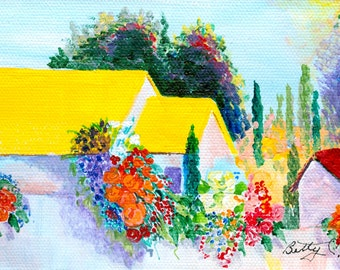 Yellow roofed house