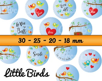 48 digital images LITTLE BIRDS for cabochons