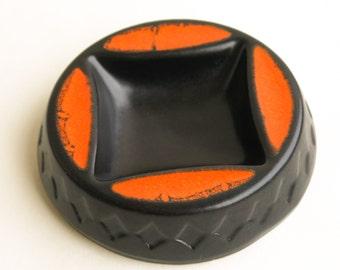 Vintage West Germany orange pop art ceramic ashtray 1970's