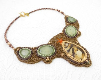 Jasper Embroidery Bib Necklace, Brown Statement Bib Necklace, Jasper Cabochon Necklace, Embroidery Jewelry