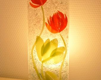 """Mood lamp """"lotus"""" - fused glass"""