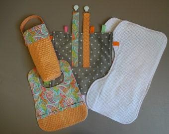 Pink and Orange Paisley Baby Gift Set