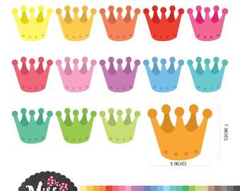 28 Colors Crown Clipart - Instant Download