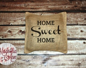 Home Sweet Home Burlap 18x18 Pillow Cover