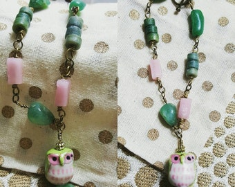Pastel beaded link bracelet with matching owl charm