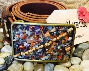 Gemstone Chip Mosaic Belt Buckle