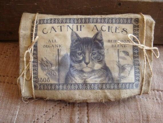 Catnip Pouch Sachet Lavender Grungy Primitive Cat