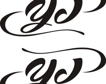 Jeep YJ Wrangler Pinstripe Sticker Set Multiple Sizes & Colors