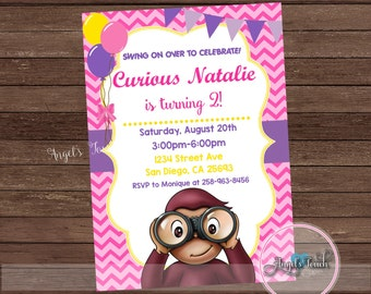 Curious Monkey Party Invitation for Girls, Curious Monkey Birthday Invitation Pink, Monkey Party Invitation for Girl , Digital File